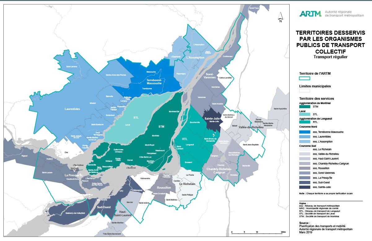 Territoires desservis par les organismes publics de transport collectif